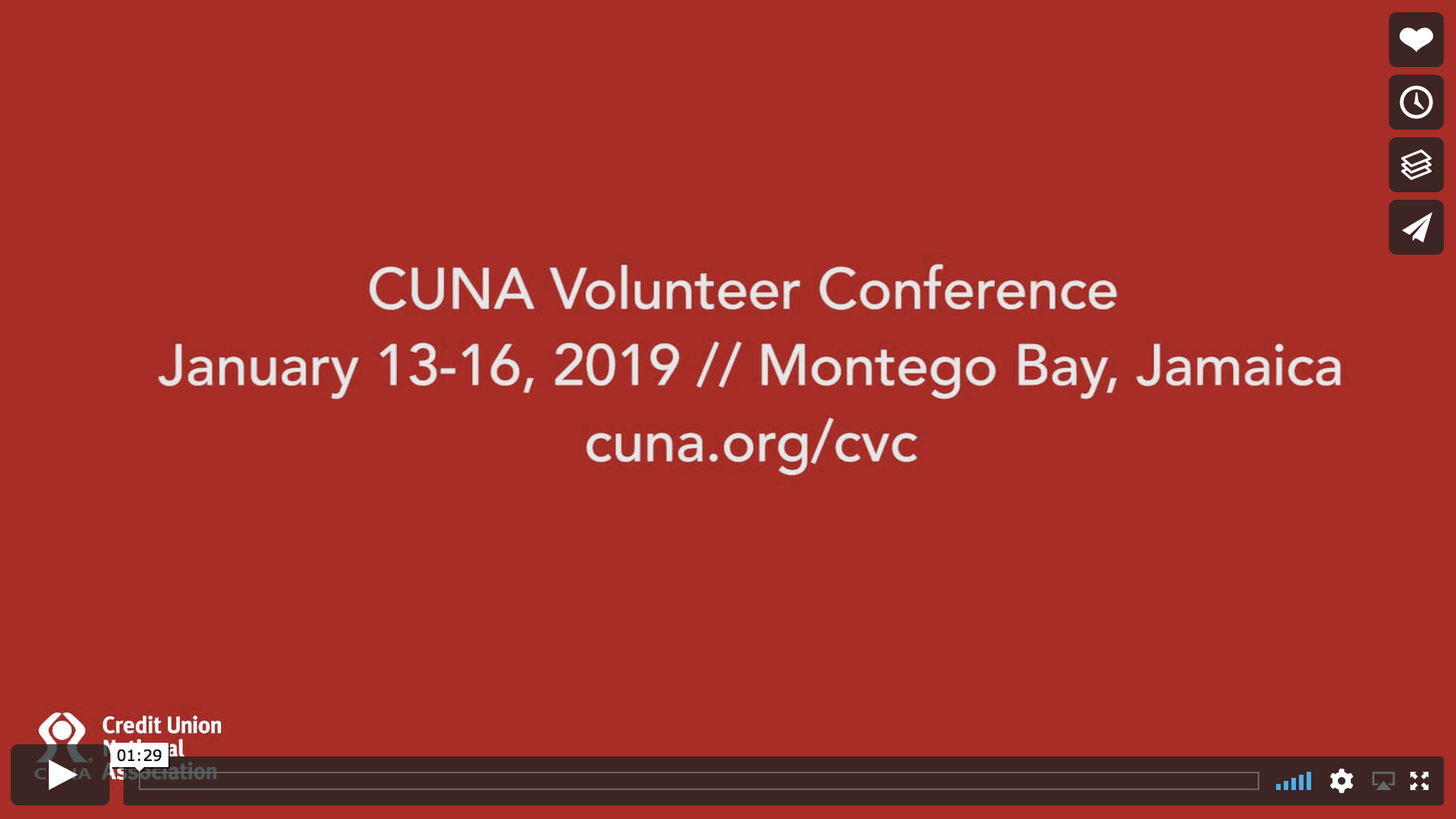 Screen shot of Vimeo video for the CUNA Volunteer Conference in January 2019