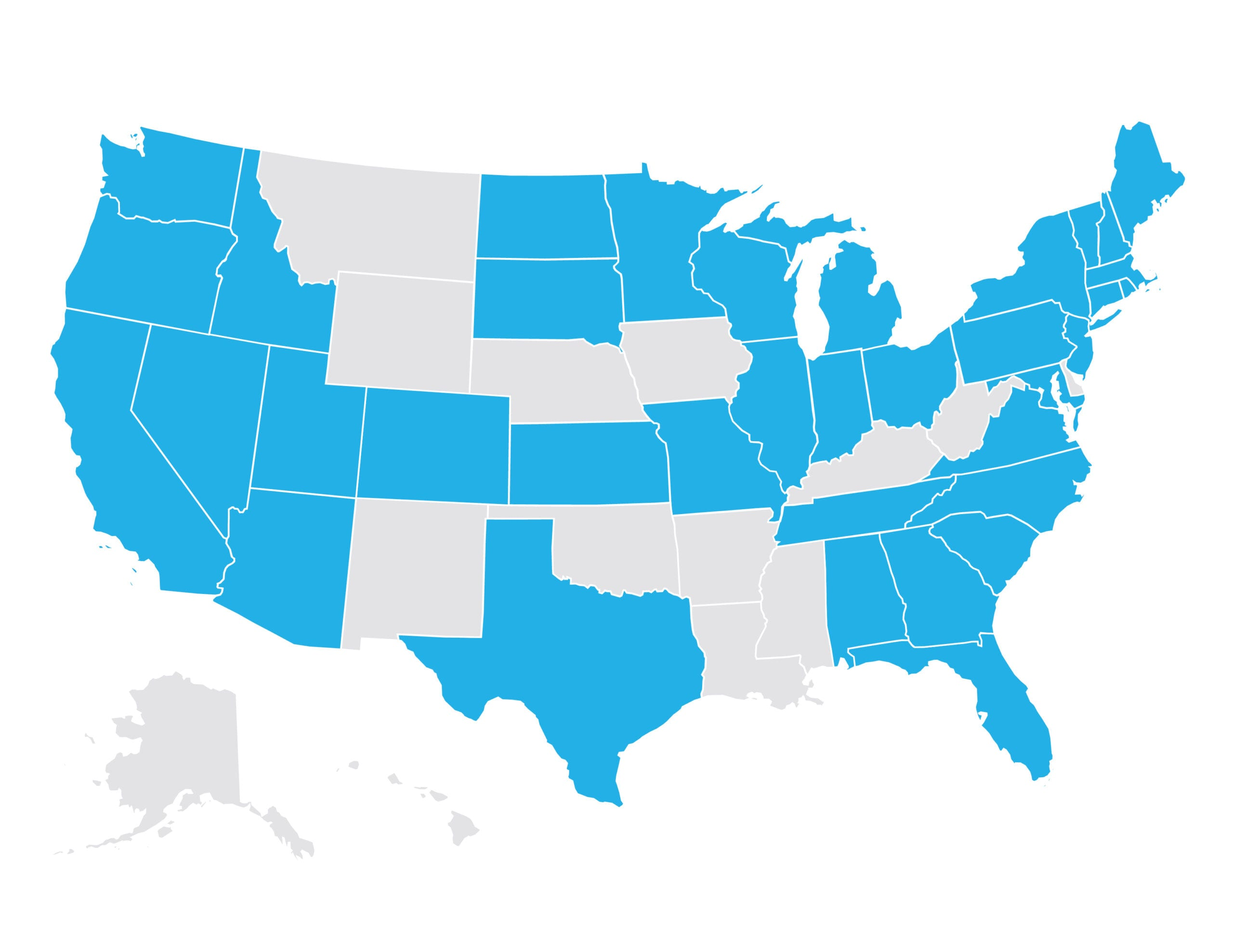 Map of US with Sievewright & Associates Client States marked